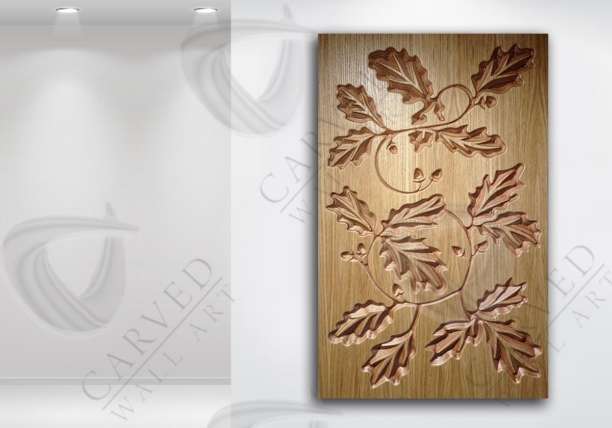 Oak Leaves Veneered Carved Wall Art
