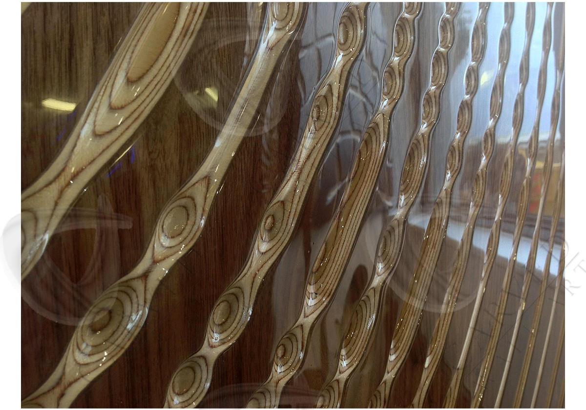Radial Ripple Veneered Carved Wall Art