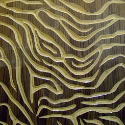 Tiger Stripes Veneered Carved Wall Art Walnut