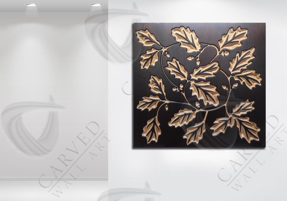 Oak Leaves MoKKa Carved Wall Art