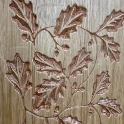Oak Leaves Veneered Carved Wall Art