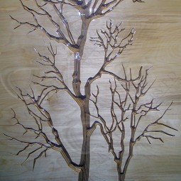 King Size Winter Trees Carved Wall Art