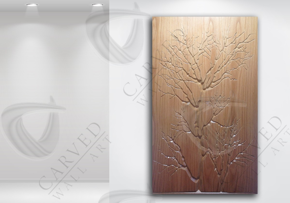Winter Trees Oak Veneered Carved Wall Art