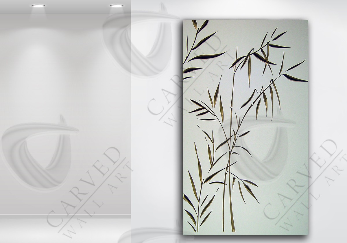 Bamboo White Carved Wall Art