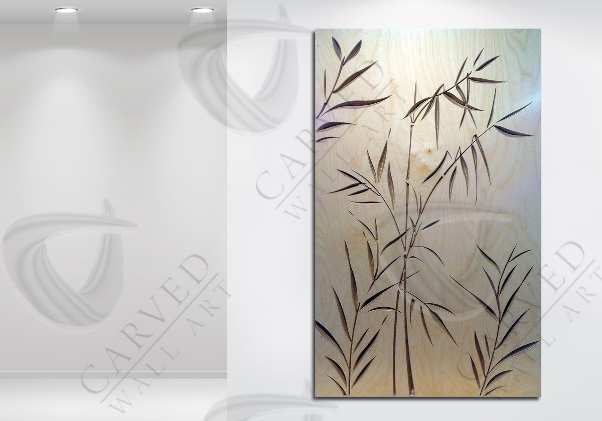 Carved wall art bamboo design for Bamboo wall art