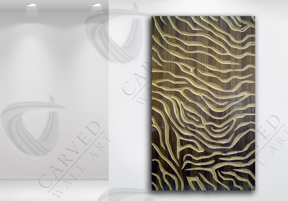 Tiger Stripes Veneered Carved Wall Art Walnut