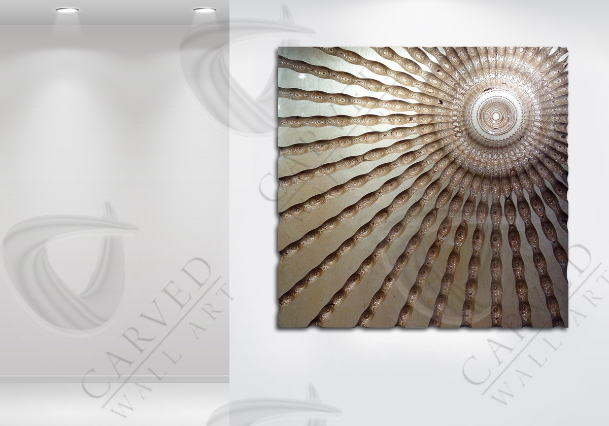 Ripple-Sunburst Carved Wall Art