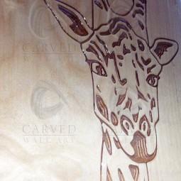 Giraffe Carved Wall Art