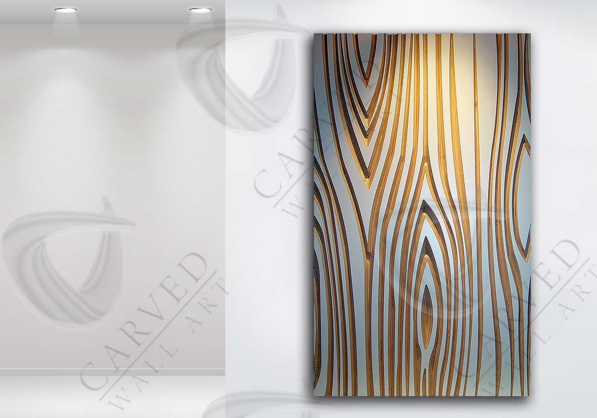 Woodgrain White Carved Wall Art